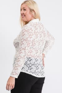 Lace Buttoned Blouse - White - Back
