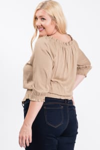Off-shoulder x Smocking Cropped Top - Khaki - Back