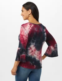 Westport Tie Dye Knit Top - Misses - Red/Black - Back