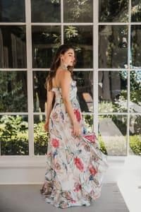 Juliette V-Neckline Boho Chic Botanica Dress - Back
