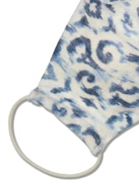 Ikat Cotton Fashion Face Mask - Blue/White - Back