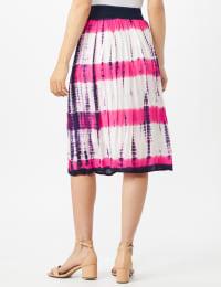 Rayon Gauze Skirt with Decorative Waistband - Fuschia/Navy - Back