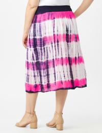 Rayon Gauze Pull On Skirt with Decorative Waistband - Plus - Back