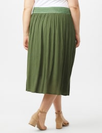 Rayon Gauze Pull On Skirt with Decorative Waistband - Olive - Back