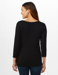 V-Neck Tie Front Knit Top - Misses - Black - Back
