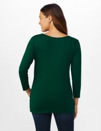 V-Neck Tie Front Knit Top - Misses - Hunter Green - Back