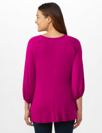 3/4 Sleeve Twist Cut Out Neck Top - Misses - Magenta - Back