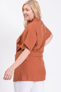 Tunic Shirt W/ Elastic Waist - Rust - Back