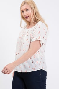 Koshibo Floral Print Top - White - Back