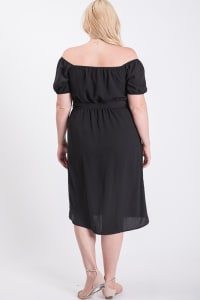 Sunny Day Poly Linen Button Dress - Plus - Black - Back