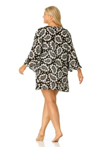 Anne Cole® Riveria Paisley Tunic Swimsuit Cover-Up - Black/White - Back