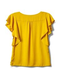 Crepe Flutter Sleeve Blouse - Mustard - Back