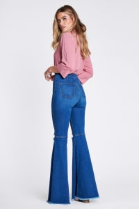 Knee-ripped Flare Jeans - Medium stone - Back