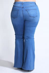 Plus Size Classic Flare Jeans - Medium stone - Back