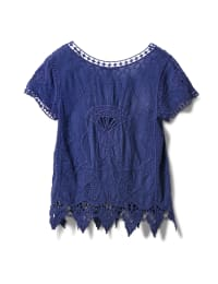 Embroidered Crochet Trim Blouse - Navy Blue - Back