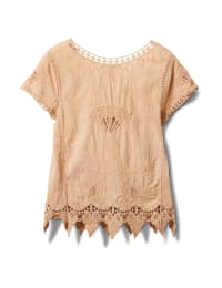 Embroidered Crochet Trim Blouse - Safari Tan - Back