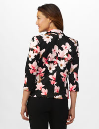 Floral Print Scuba Crepe Faux Pocket Jacket - Black/Light Flamingo - Back