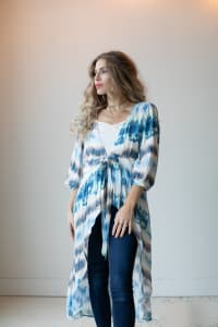 Tie Dye Kimono - Blue/Ivory - Back