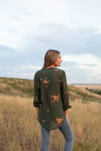 Olive Embroidered Button Front Woven Blouse - Olive - Back