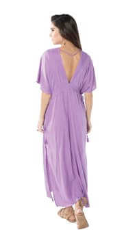 Bisous Tunic Sundress - Lilac - Back