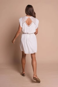 Amber Short Sleeve Sundress Dress - Off white - Back