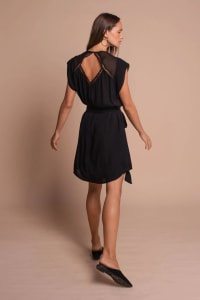 Amber Short Sleeve Sundress Dress - Black - Back