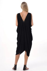 Iluh V-Neck Kaftan Dress - Black - Back