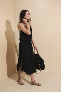 Lisa Midi Spaghetti-Strap Dress - Black - Back