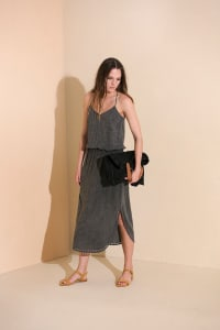 Lisa Midi Spaghetti-Strap Dress - Charcoal - Back