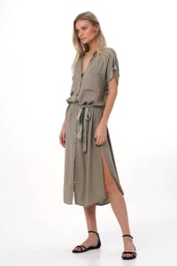 Uma Shirt Maxi Dress - Olive - Back