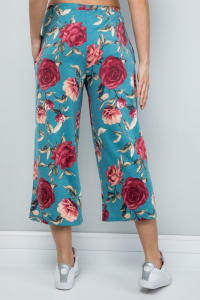 Floral Wide-Leg Cropped Pants - Mint - Back
