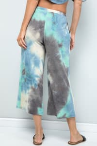 Multi-color Cropped Wide-Leg Pants - Blue charcoal - Back