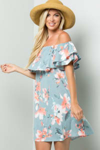 Off-Shoulder Floral Dress - Blue - Back