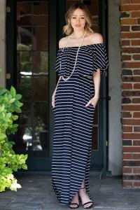 Off-shoulder Striped Maxi Dress - Back