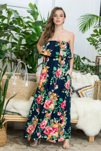 Ruffle Floral Strapless Maxi Dress - Navy - Back