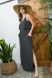 Striped Maxi Dress - Black / Ivory - Back