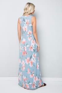 Floral Print Maxi Dress - Back