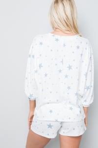 Star Print Top - Blue - Back