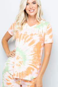 Tie Dye V-Neck Top - Orange - Back