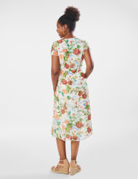 Surplice Floral Midi Dress - Misses - Ivory - Back