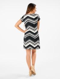 Chevron Knit Dress - Black/White - Back