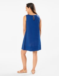 Linen Trapeze Dress - Blue - Back