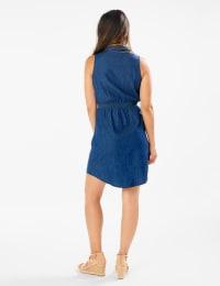 Button Front Sleeveless Denim Dress - Back