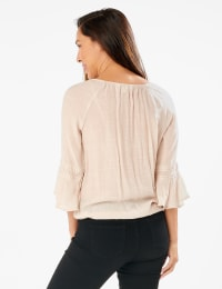Textured Crochet Trim Tie Front Woven Top - Raw Silk - Back