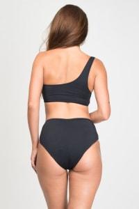 Asymmetrical High-Waist Bikini - Black - Back