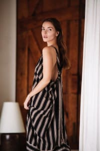 Striped Loose Dress - Black stripe - Back