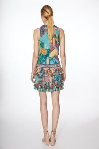 Floral Chiffon Ruffle Tier Dress - Multi - Back