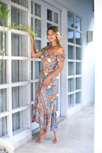 Off-Shoulder Maxi Dress - Multi - Back