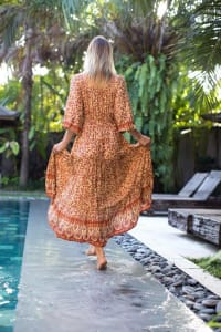 Amber Peasant Maxi Dress - Amber - Back