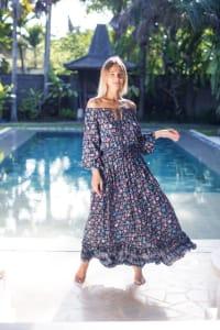 Off-Shoulder Floral Peasant Dress - Back